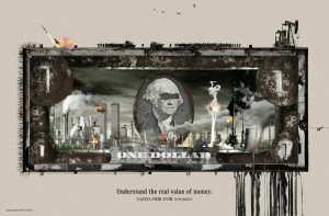 Gazeta Mercantil (Brazilian business newspaper) 2008 ad: Dollar - Understand the real value of money