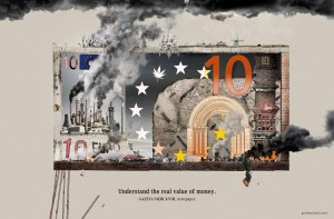 Gazeta Mercantil (Brazilian business newspaper) 2008 ad: Euro - Understand the real value of money