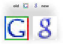 Googles old and new favicons as of 2008-05-30