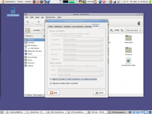 Nautilus file manager, settings for removable media, Ubuntu 8.04